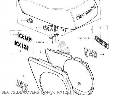 Kawasaki 1975 Kx125-a parts list partsmanual partsfiche