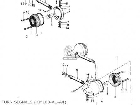 Kawasaki 1976 Km100-a1 parts list partsmanual partsfiche