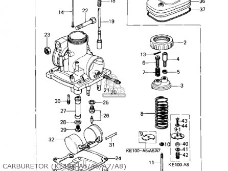 Kawasaki 1980 Ke100-a9 Ke100 parts list partsmanual partsfiche