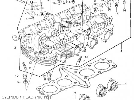 Kawasaki 1980 Kz750-h1 Ltd parts list partsmanual partsfiche
