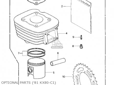 Kawasaki 1981 Kx80-c1 Kx80 parts list partsmanual partsfiche