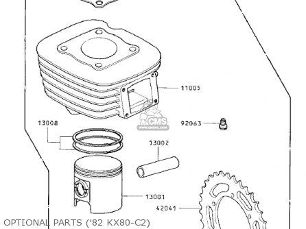 Kawasaki 1981 Kx80-c1 Kx80 parts list partsmanual partsfiche