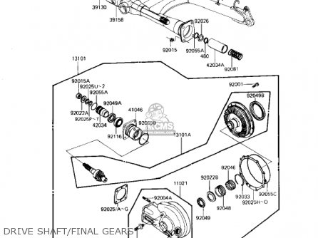 Kawasaki 1983 Kz1100-l1 Ltd Shaft parts list partsmanual