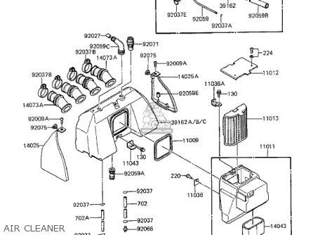 Kawasaki 1983 Zx1100-a1 Gpz parts list partsmanual partsfiche
