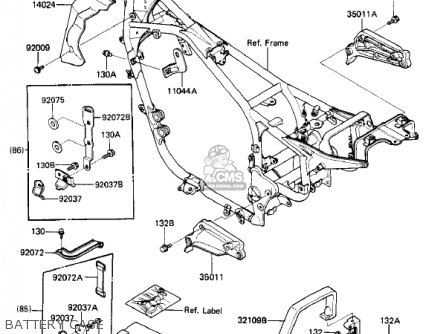 Kawasaki 1985 Zl900-a1 Eliminator parts list partsmanual