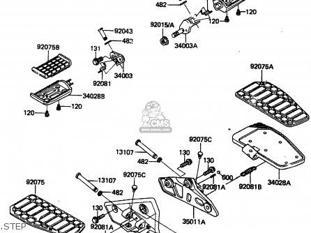 Kawasaki 1986 A4: Zn1300 parts list partsmanual partsfiche