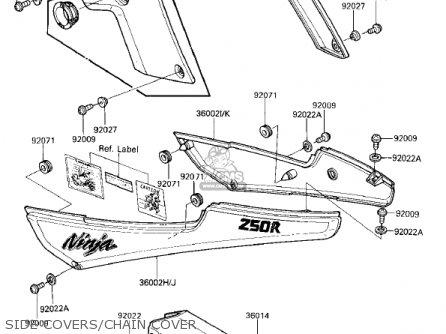 Kawasaki 1987 Ex250-e2 Ninja 250r parts list partsmanual