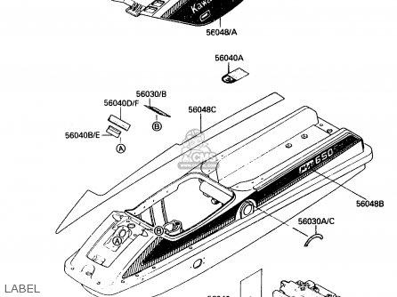 Kawasaki 1988 A2: Js650(sx) parts list partsmanual partsfiche