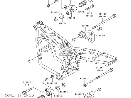 Kawasaki 1992 B3: Zr550 parts list partsmanual partsfiche