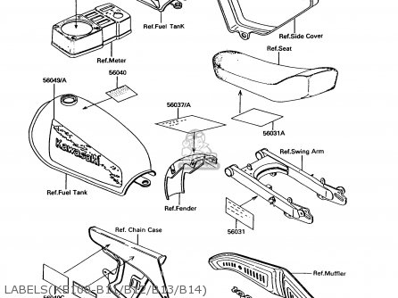 Kawasaki 1993 B12: Ke100 (north America) parts list