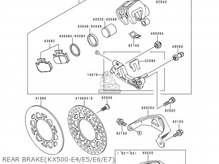 Kawasaki 1993 E5: Kx500 parts list partsmanual partsfiche
