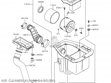 Kawasaki 1998 B6: Klf 400 parts list partsmanual partsfiche