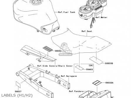 Kawasaki 2001 Zr750-h1 Zr-7s parts list partsmanual partsfiche