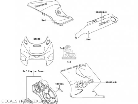 Kawasaki 2001 Zx1100-d9 Ninja Zx-11 parts list partsmanual