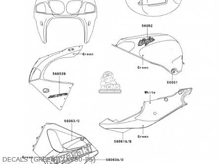 Kawasaki 2001 Zx750-p6 Ninja Zx-7r parts list partsmanual