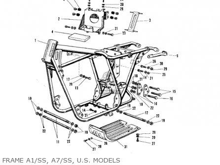 Kawasaki A7 AVENGER 1968 USA parts lists and schematics