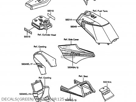 Kawasaki AR125A8 1990 UNITED KINGDOM GR NR parts lists and