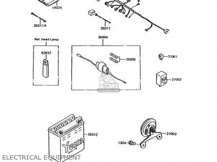 Kawasaki Ar125b7 1990 United Kingdom parts list