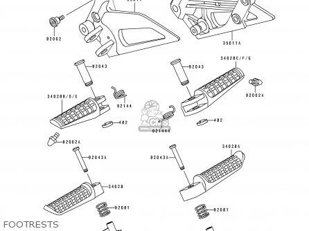 Kawasaki EX250H2 ZZR250 1991 EUROPE UK AR GR NR parts