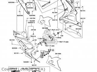 Kawasaki EX250JCFA NINJA 250R 2012 USA parts lists and