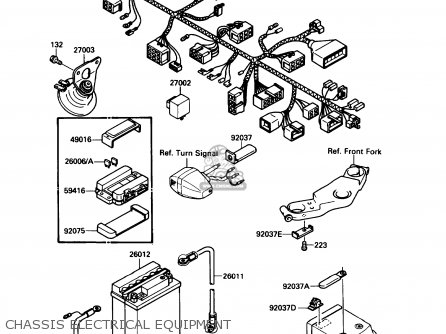 Kawasaki Ex500a3 1989 Usa California Canada parts list