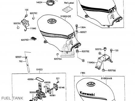 Kawasaki EX500A3 GPZ500S 1989 EUROPE UK AR parts lists and