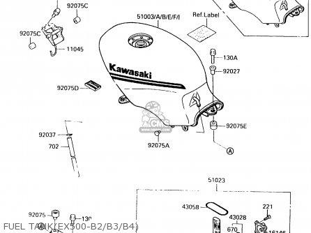 Kawasaki Ex500b4 1991 Europe Fr Gr It Nr Sp parts list