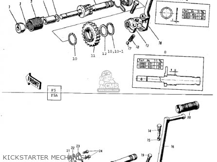 Kawasaki F5A 1971 USA parts lists and schematics