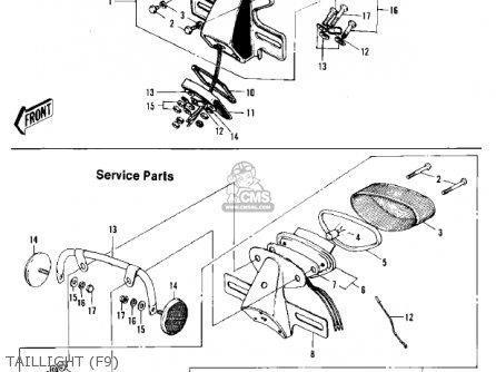Kawasaki F9 1972 Usa Canada parts list partsmanual partsfiche