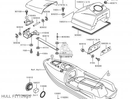 Kawasaki JF650-B4 JETSKI 1992 FRANCE AL / TS parts lists