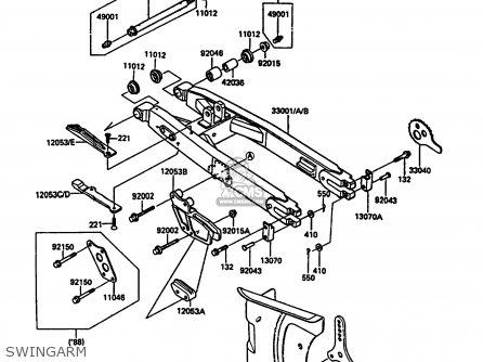 Kawasaki Kdx200-c2 1987 United Kingdom Al parts list