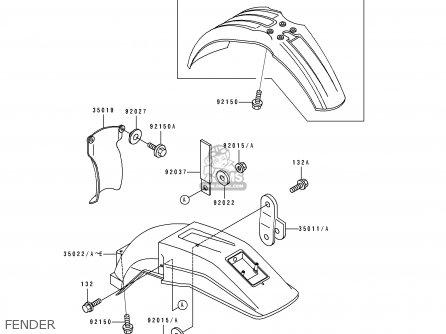 Kawasaki KDX200-E1 1989 USA CANADA parts lists and schematics