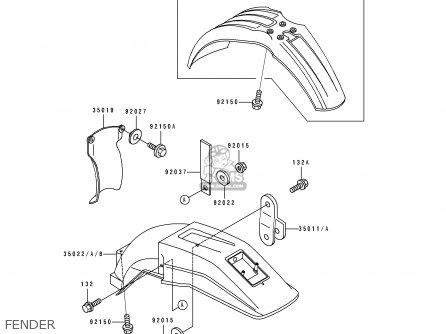 Kawasaki KDX200-E3 1991 UNITED KINGDOM AL parts lists and