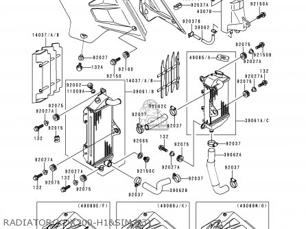 Kawasaki KDX200-H1 1995 USA CANADA parts lists and schematics