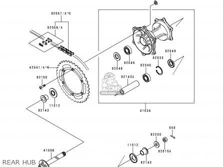 Kawasaki Kdx200-h3 1997 Europe Uk Fr parts list