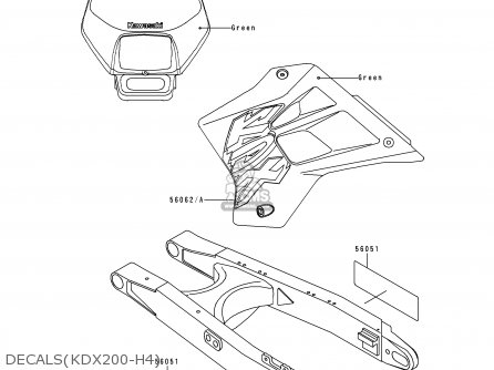 Kawasaki Kdx200-h4 1998 Europe Uk Fr parts list