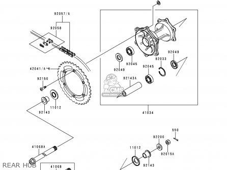 Kawasaki KDX220-A6 KDX220R 1999 USA CANADA parts lists and