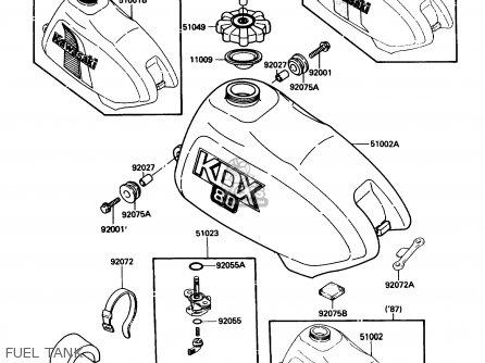 Kawasaki Kdx80-c4 1987 Usa Canada parts list partsmanual