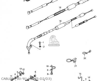 Kawasaki KE175-D2 KE175 1980 USA CANADA parts lists and