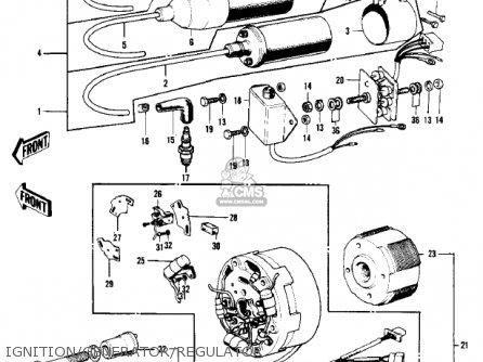 Kawasaki KH250A5 1976 CANADA parts lists and schematics