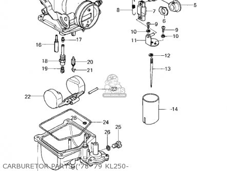 Kawasaki Kl250a1 Klr250 1978 Canada parts list partsmanual