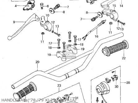 Kawasaki KL250A4 KLR250 1981 CANADA parts lists and schematics