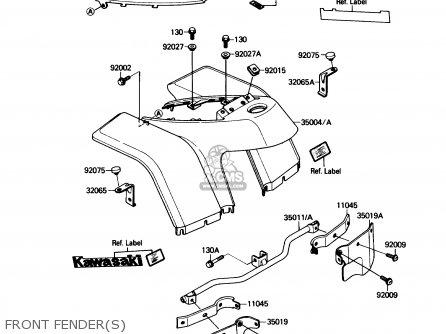 Kawasaki KLF110-A2 MOJAVE110 1988 USA CANADA parts lists
