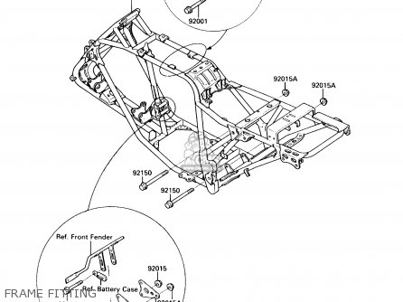 Kawasaki KLF220-A4 BAYOU220 1991 USA parts lists and