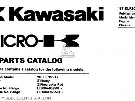 Kawasaki Klf300-a2 Bayou300 1987 United Kingdom As parts