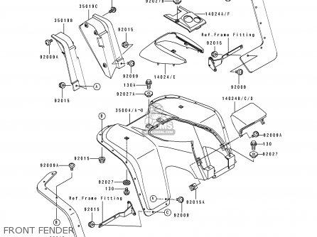 Kawasaki Klf300-b4 1991 Europe Uk As parts list