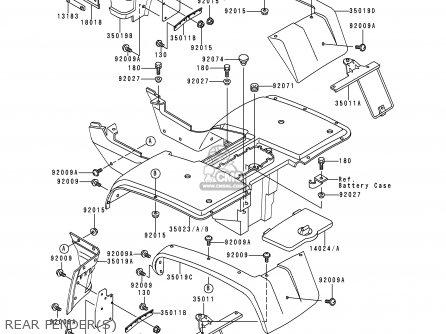 Kawasaki KLF300-B5 BAYOU300 1992 EUROPE UK AS parts lists
