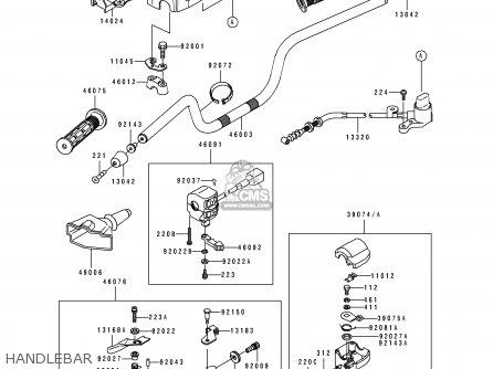Kawasaki KLF400-B1 BAYOU4004X4 1993 USA CANADA parts lists