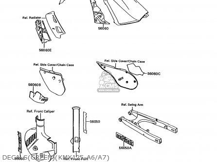 Kawasaki KMX125-A6 1992 EUROPE parts lists and schematics