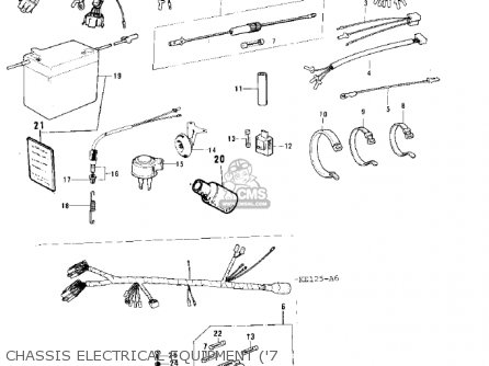 Kawasaki KS125 1974 USA CANADA parts lists and schematics
